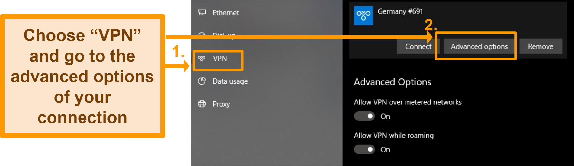 Screenshot of changing the advanced options for a manual VPN configuration in the Windows VPN settings
