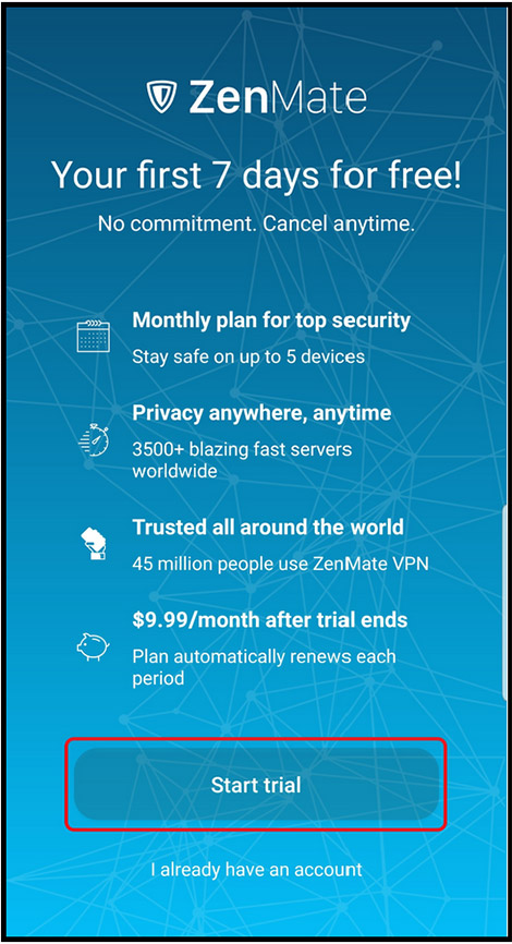 ZenMate VPN Android start trial