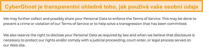 Screenshot ze zásad ochrany osobních údajů CyberGhost na jeho webových stránkách s uvedením, že VPN shromažďuje některé osobní údaje