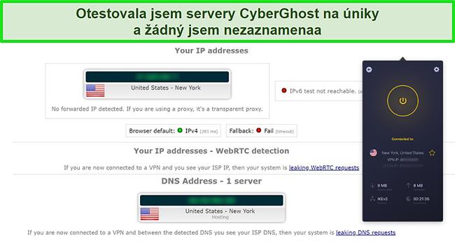 Screenshot z CyberGhost VPN připojeného k americkému serveru a úspěšně absolvovaného testu těsnosti IP