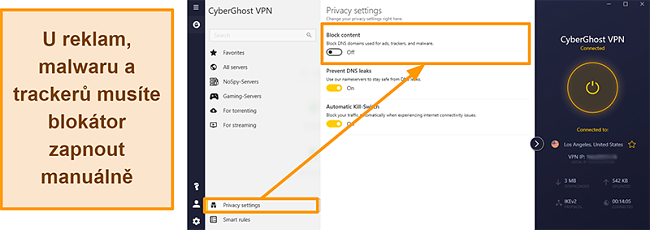 Screenshot obrazovky s reklamami, sledovači a malwarem CyberGhost VPN