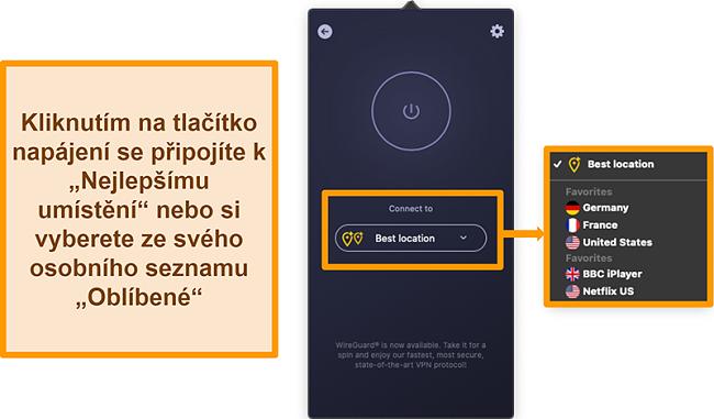 Screenshot funkce Nejlepší umístění aplikace CyberGhost VPN v aplikaci