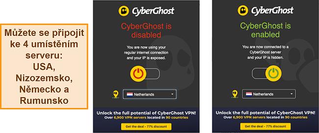 Screenshot rozšíření prohlížeče CyberGhost VPN