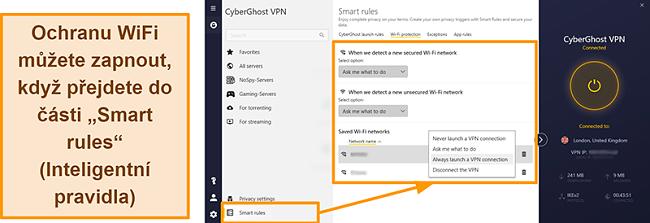 Screenshot funkce ochrany WiFi CyberGhost VPN