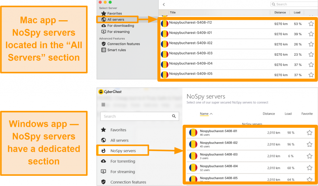 Screenshot of CyberGhost VPN's NoSpy servers on the Windows and Mac apps