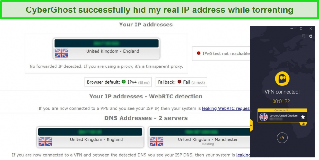 Screenshot of leak test results while connected to CyberGhost VPN's torrenting server in the UK