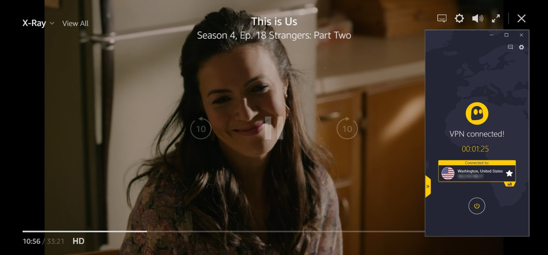 Screenshot of This is Us streaming on Amazon Prime with CyberGhost connected to a US server