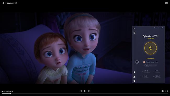 Skjermbilde av Frozen 2-streaming på Disney + med CyberGhost koblet til en amerikansk server