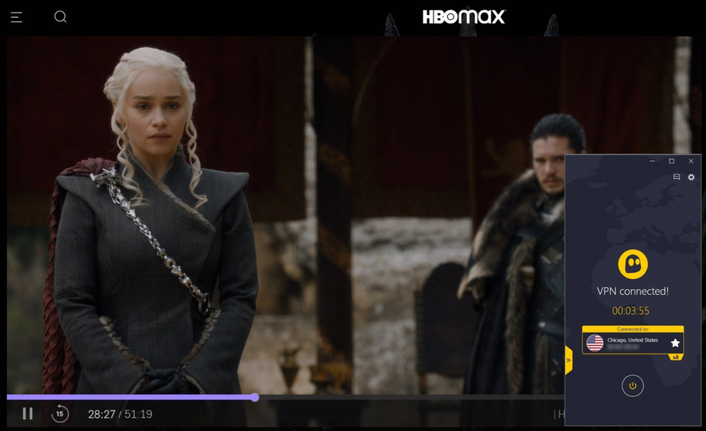 Screenshot of Game of Thrones streaming on HBO Max and CyberGhost connected to a US server