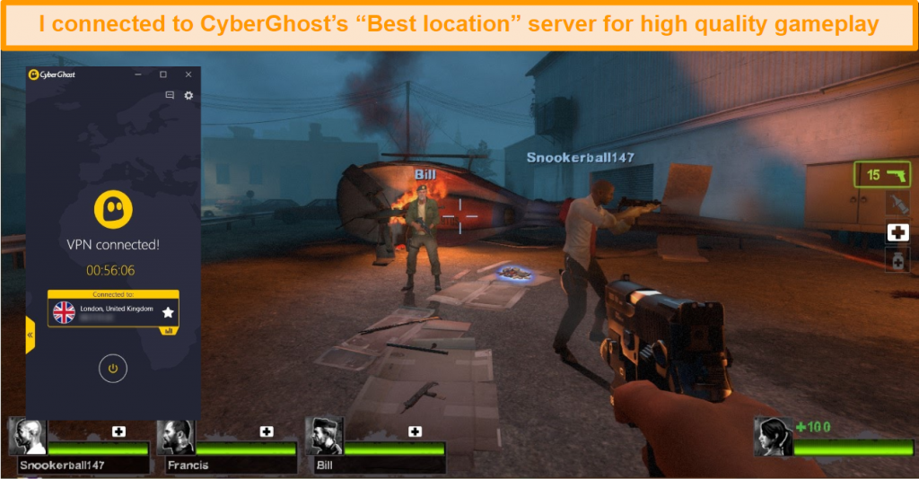 Screenshot of Left 4 Dead 2 playing with CyberGhost connected to a UK server