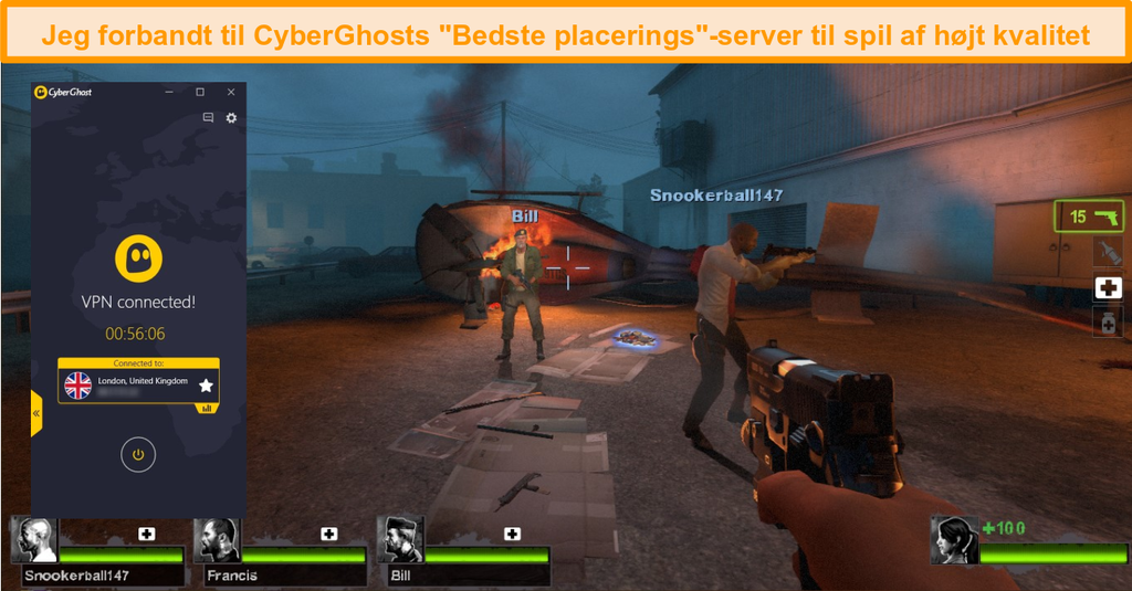 Skærmbillede af Left 4 Dead 2, der spiller med CyberGhost forbundet til en britisk server