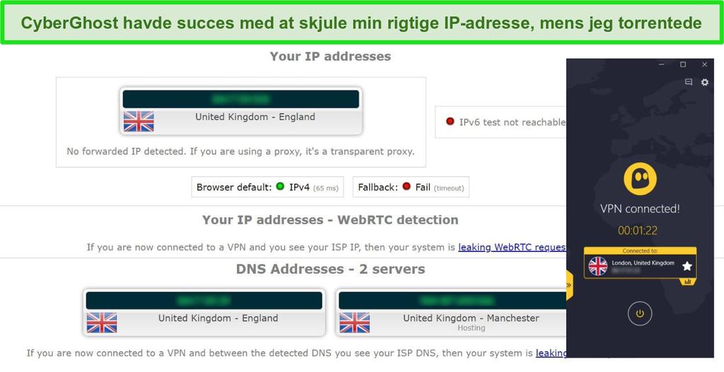 Skærmbillede af lækagetestresultater, mens der er forbindelse til CyberGhost VPN-torrent-server i Storbritannien