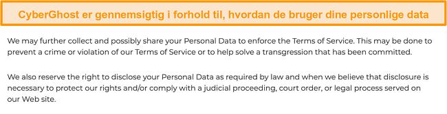 Skærmbillede af CyberGhosts privatlivspolitik på sit websted om, at VPN indsamler nogle personlige data
