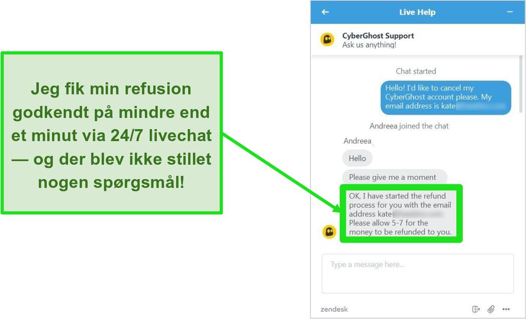 Skærmbillede af CyberGhosts kundesupportrepræsentant, der godkender en refusion med 45-dages pengene-tilbage-garanti over 24/7 live chat
