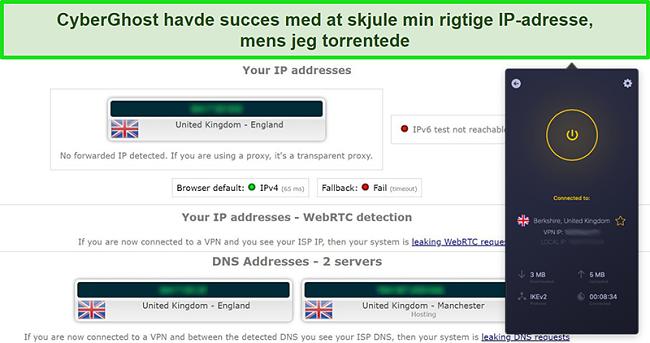 Skærmbillede af CyberGhost VPN tilsluttet en britisk server og bestået en IP-lækagetest