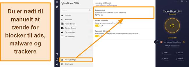 Skærmbillede af CyberGhost VPNs annonce, tracker og malware-blokering
