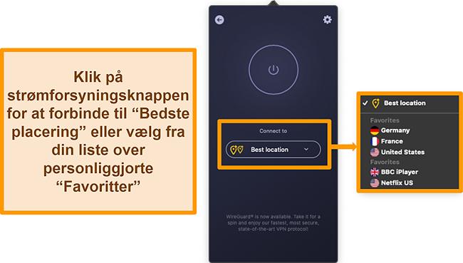 Skærmbillede af CyberGhost VPNs bedste placeringsfunktion i appen