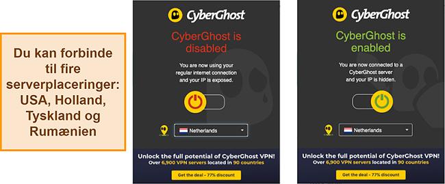 Skærmbillede af CyberGhost VPN-browserudvidelsen