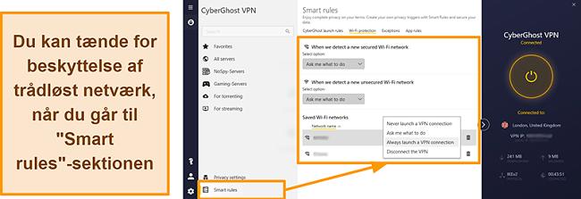 Skærmbillede af CyberGhost VPNs WiFi-beskyttelsesfunktion