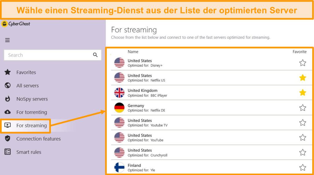 Screenshot der optimierten Streaming-Server von CyberGhost in der Windows-App