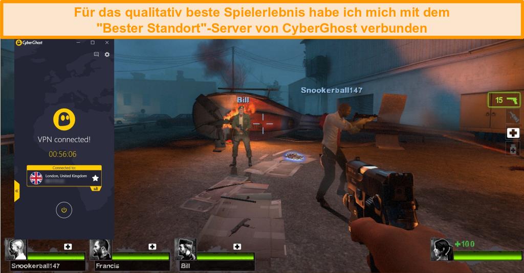 Screenshot von Left 4 Dead 2 beim Spielen mit CyberGhost, das mit einem britischen Server verbunden ist