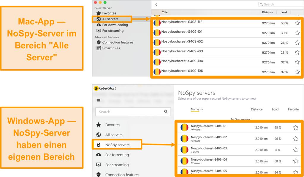 Screenshot der CyberGhost VPN NoSpy-Server auf den Windows- und Mac-Apps