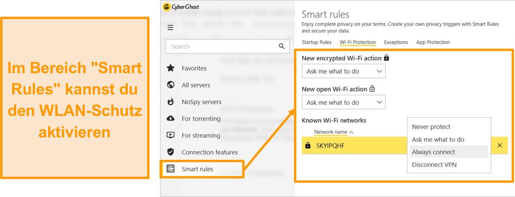 Screenshot der CyberGhost WiFi-Schutzfunktion