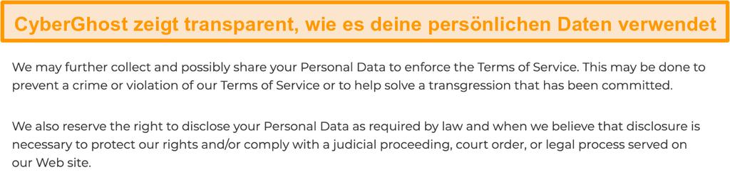 Screenshot der Datenschutzrichtlinie von CyberGhost auf seiner Website, aus der hervorgeht, dass das VPN einige personenbezogene Daten sammelt