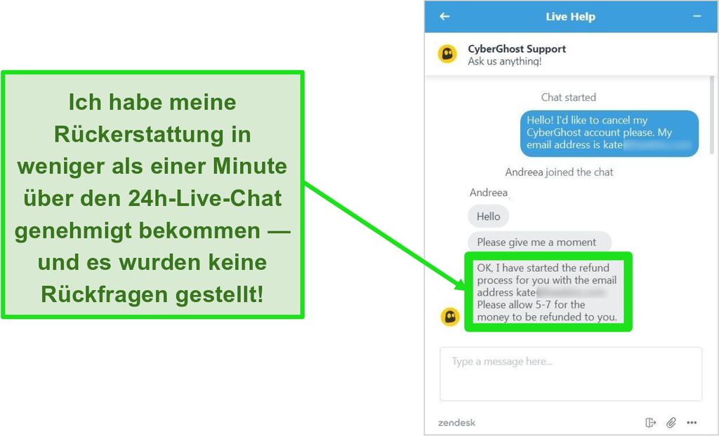 Screenshot des Kundendienstmitarbeiters von CyberGhost, der eine Rückerstattung mit der 45-Tage-Geld-zurück-Garantie über einen Live-Chat rund um die Uhr genehmigt