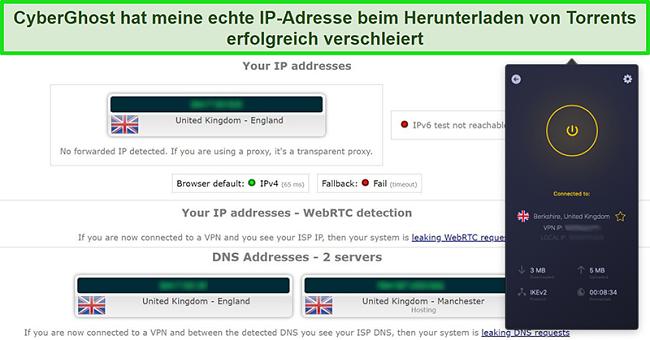 Screenshot von CyberGhost VPN, das mit einem britischen Server verbunden ist und einen IP-Lecktest erfolgreich bestanden hat