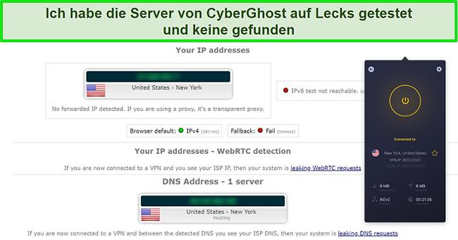 Screenshot von CyberGhost VPN, das mit einem US-Server verbunden ist und einen IP-Lecktest erfolgreich bestanden hat