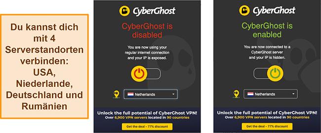 Screenshot der CyberGhost VPN-Browsererweiterung