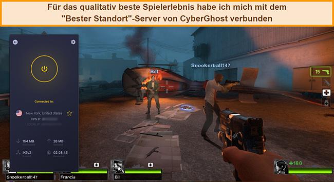Screenshot eines Benutzers, der beim Online-Spielen mit dem US-Server von CyberGhost VPN verbunden ist