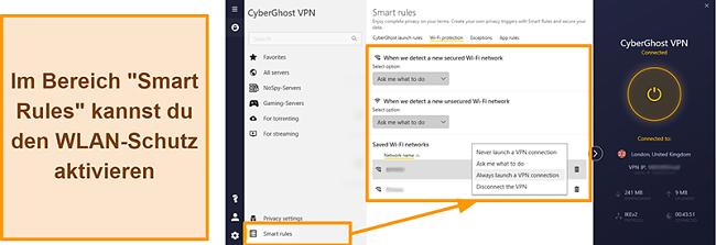 Screenshot der WiFi-Schutzfunktion von CyberGhost VPN