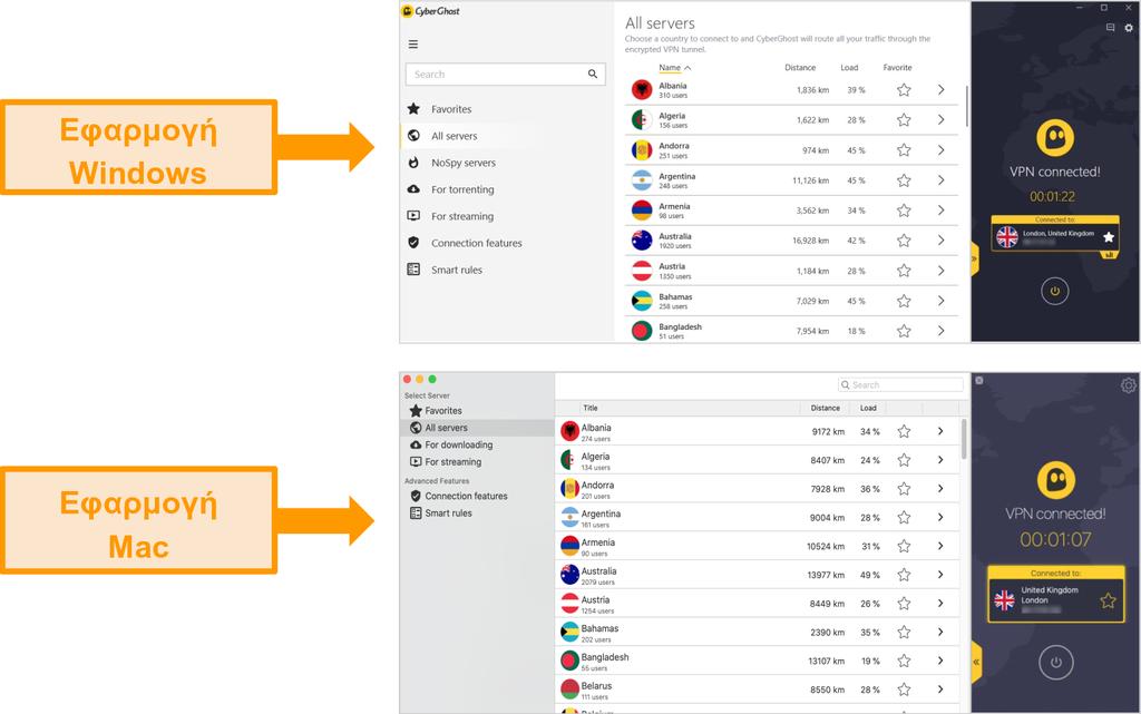 Σύγκριση εφαρμογών VPN CyberGhost για Windows και Mac