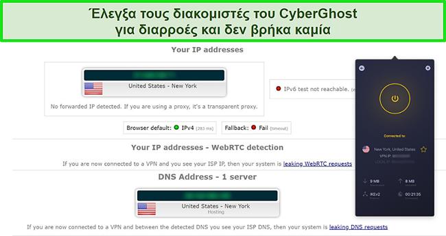 Στιγμιότυπο οθόνης του CyberGhost VPN που είναι συνδεδεμένο σε διακομιστή των ΗΠΑ και πέρασε με επιτυχία μια δοκιμή διαρροής IP