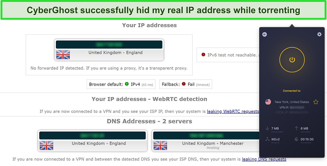 Screenshot of CyberGhost VPN connected to a UK server and successfully passing an IP leak test