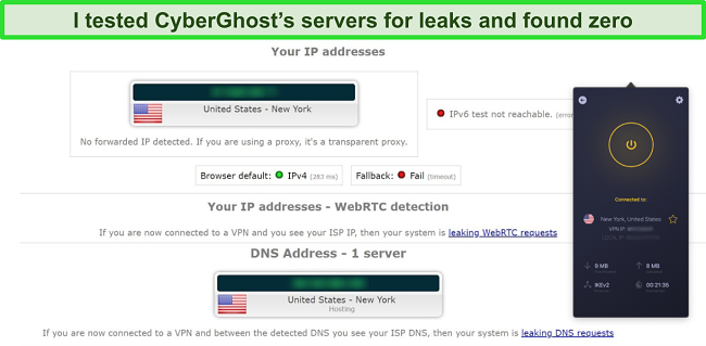 Screenshot of CyberGhost VPN connected to a US server and successfully passing an IP leak test
