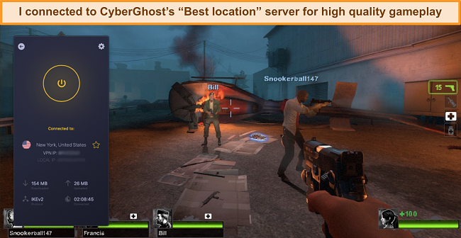 Screenshot of user connected to CyberGhost VPN's US server while gaming online
