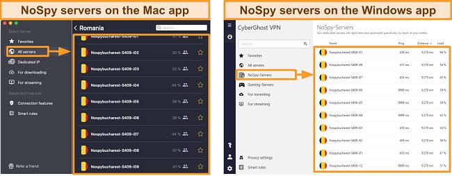 Screenshot of CyberGhost VPN's NoSpy servers on the Windows versus Mac app