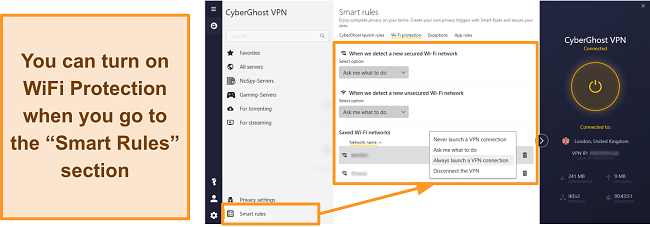 Screenshot of CyberGhost VPN's WiFi Protection feature