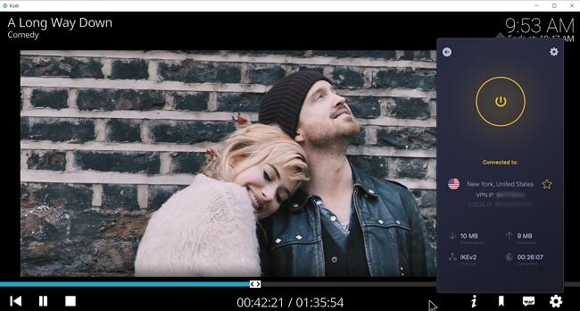 Screenshot of CyberGhost VPN unblocking the movie A Long Way Down on the Kodi add-on Popcornflix