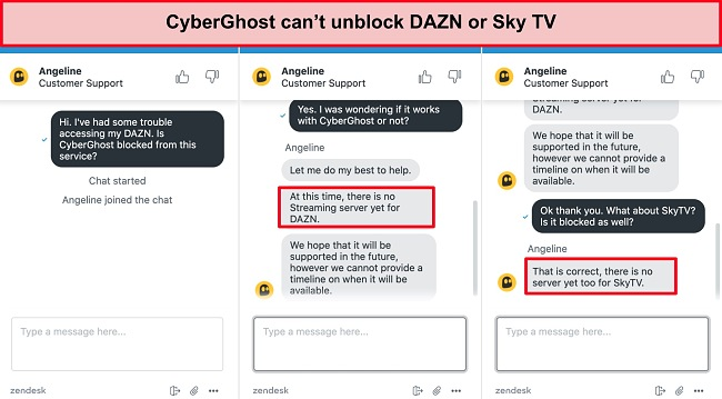 Screenshot of live chat conversation confirming if CyberGhost works with DAZN and Sky TV.