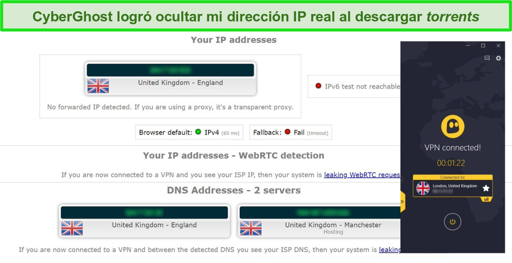 Captura de pantalla de los resultados de la prueba de fugas mientras está conectado al servidor de torrents CyberGhost VPN en el Reino Unido