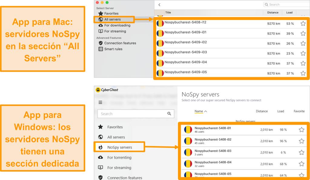 Captura de pantalla de los servidores CyberGhost VPN NoSpy en las aplicaciones de Windows y Mac