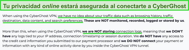 Captura de pantalla de la declaración de privacidad de CyberGhost VPN en su sitio web