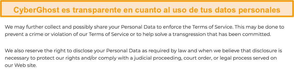 Captura de pantalla de la política de privacidad de CyberGhost en su sitio web que indica que la VPN recopila algunos datos personales