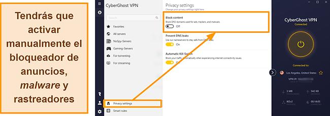 Captura de pantalla del bloqueador de anuncios, rastreadores y malware de CyberGhost VPN