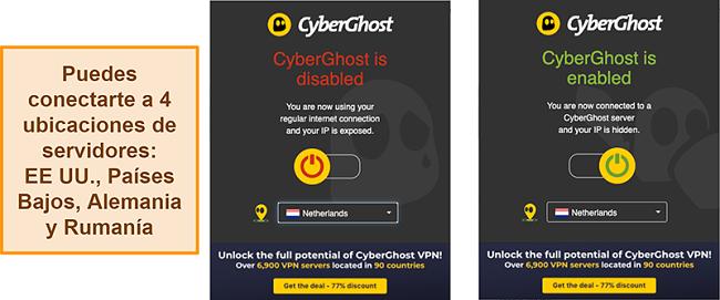 Captura de pantalla de la extensión del navegador CyberGhost VPN