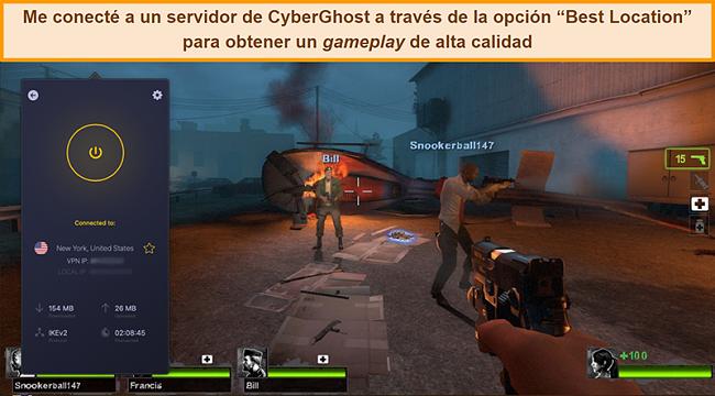 Captura de pantalla del usuario conectado al servidor de CyberGhost VPN en EE. UU. Mientras juega en línea